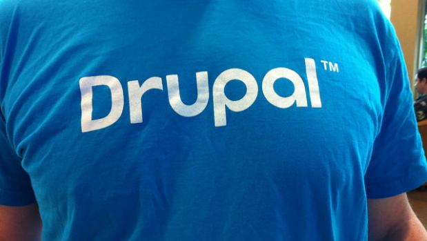 drupal written on the front of a blue tshirt