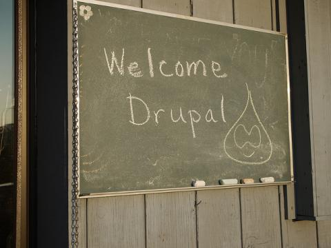 welcome to drupal, written on a chalkboard