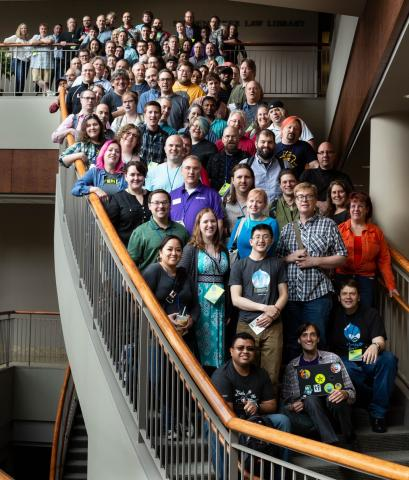 Friday 2018 Camp attendees on the atrium staircase
